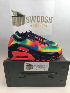 be781da98ab Nike Air Max 90 QS GS Crimson Blue Heat Map Thermal 847656 400 sz 6Y  Weatherman