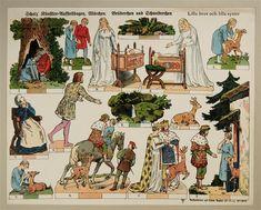 Scholz` Künstler=Aufstellbogen, Märchen. Brüderchen und Schwesterchen. Aufstellbilder auf dickem  Papier (33x43 cm) No. 58 K.
