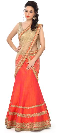 Buy Online from the link below. We ship worldwide (Free Shipping over US$100) Price - $719.00 Click Anywhere to Tag  http://www.kalkifashion.com/orange-lehenga-embellished-in-zari-embroidery-only-on-kalki.html
