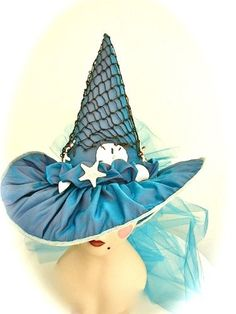 Annabel Lee Silk Sea Witch Hat (how freakin' awesome would it be to have one of these match my dress? Sea Witch Costume, Halloween Witch Hat, Witch Costumes, Witch Hats, Scary Halloween, Halloween Ideas, Halloween Stuff, Ariel Costumes, Funny Halloween Costumes