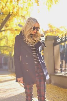 Plaid pants, striped top and peacoat