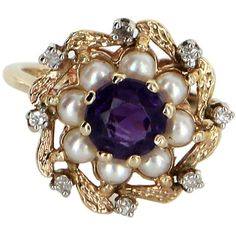 Pre-Owned Amethyst Diamond Cultured Pearl Vintage Cocktail Ring