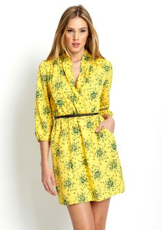 KENSIE V-Neck Printed Dress with Ruched Waist: Love the color!