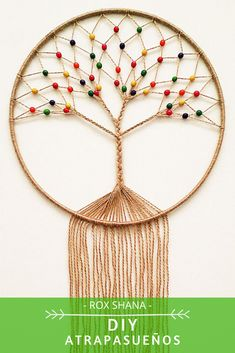 Rope Crafts, Yarn Crafts, Bead Crafts, Arts And Crafts, Macrame Wall Hanging Patterns, Macrame Plant Hangers, Macrame Patterns, Crochet Tree, Crochet Mandala