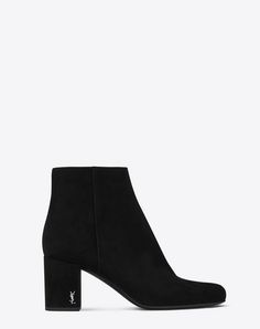 bcd0cd5096f5 BABIES 70 Ankle Boot in Black Suede and Silver-Toned Metal. Saint Laurent  ...