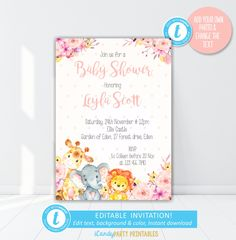 Your place to buy and sell all things handmade Baptism Invitations Girl, Boy Birthday Invitations, Christmas Invitations, Bridal Shower Invitations, Safari Animals, Baby Animals, Jungle Safari, Party Printables, Baby Shower Parties