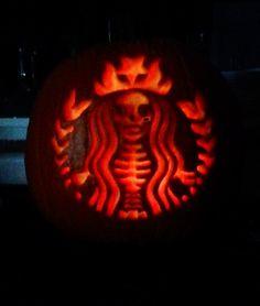 Halloween pumpkin carving idea - my friend's pumpkin - Starbucks - wow! @Nicole Aguilera
