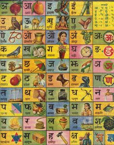 Learn Hindi= Devanagari alphabet with pictures for easy learning Alphabet Latin, Alphabet A, Alphabet Charts, Alphabet Posters, Alphabet Symbols, English Alphabet, Hindi Calligraphy, Hindi Language Learning, Sanskrit Language
