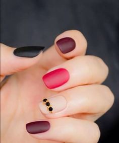 Black and dark red nails