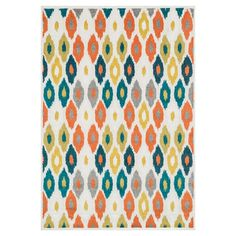 Anchor your patio seating group or define space in the living room with this Egyptian-made indoor/outdoor rug, featuring an ikat-inspired diamond motif for e...