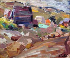 René RICHARD - Paysage (Baie St-Paul) 1955 Baie St Paul, Art Moderne, Sculpture, Objet D'art, Canadian Artists, Quebec, Landscape Paintings, Modern Art, Canada