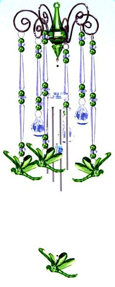 Wind Chime Emerald Green Dragonfly Dance, Chandelier Mobile Style, 3 Acrylic Prisms Creates a Sparkling Colorful Effect in Bright Sunlight, Indoor - Outdoor Decor 20 Inches : Patio, Lawn & Garden Sun Catcher, Bug Art, Diy Wind Chimes, Dragonfly Art, Arts And Crafts, Diy Crafts, Mobiles, Wire Art, Indoor Outdoor