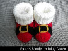 Santa's Baby Booties Knitting Pattern