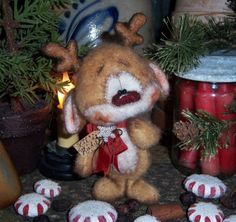 "Primitive Christmas Santa Deer Reindeer 5"" Bear Doll Vtg Patti's Ratties Rudolph....for ordering information contact me at pattisratties3d@yahoo.com"