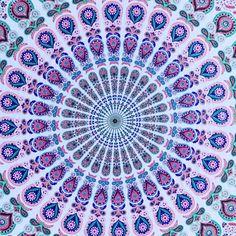 Pink & Blue Medallion Mandala Tapestry / Bedspread