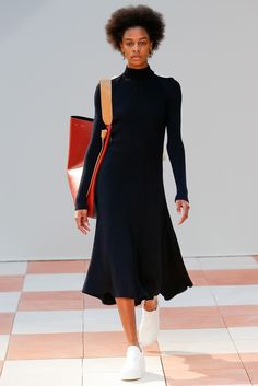 Céline: Polo Neck Midi Knitted Dress + Sneakers