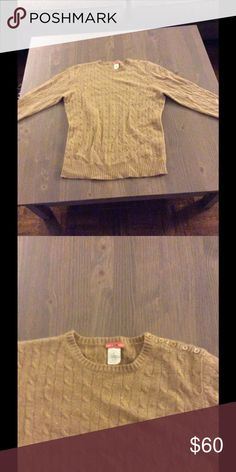 J Crew Shimmery Gold Cashmere Sweater Semi Fitted and in excellent condition J Crew Sweaters Crew & Scoop Necks