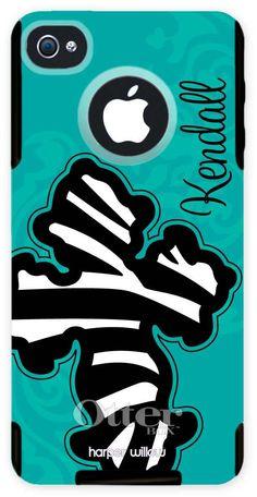 Monogrammed Otterbox iPhone Case - Zebra Cross Isle Mist | Otterbox iPhone Case