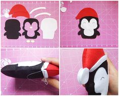 Navidad está llegando y este pingüinito está buscando un lugar para decorar tu árbol. Un lindo trabajo demamaearteira. Materiales: Fieltro en color: blanco, negro, rojo y amarillo. 1 tira de cualquier tela para la bufanda Relleno Aguja e hilo en color: blanco, negro y rojo. Tijeras – Imprime el molde en hoja A4, es tan … Felt Christmas Ornaments, Christmas Art, Christmas Projects, Christmas Themes, Felt Crafts, Fabric Crafts, Christmas Crafts, Felt Advent Calendar, Diys