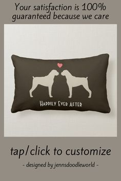 Boxer Dog Silhouettes with Heart Cute Custom Lumbar Pillow - tap to personalize and get yours #LumbarPillow #boxer #dog #wedding #cute #couple