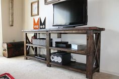 Build a TV Stand or Media Console With These Free Plans: Rustic X Console From Ana White