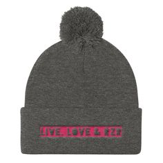 "Women's ""live,love,RZR"" Pom Pom Knit Cap"