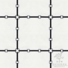 Strap small, a waterjet stone mosaic, shown in honed Nero Marquina, Thassos, and Bardiglio | New Ravenna