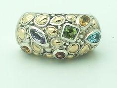 Sterling & 18K Gold Samuel B BJC Benham Garnet Topaz Amethyst Ring