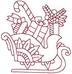 Windstar Embroidery Designs: Redwork Christmas Sleigh