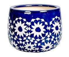 Portavaso in ceramica blu e bianco Catout, 30x23 cm