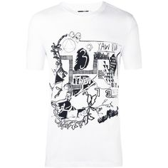 McQ Alexander McQueen graphic print T-shirt (465 BRL) ❤ liked on Polyvore featuring men's fashion, men's clothing, men's shirts, men's t-shirts, white, mens print shirts, mens black white striped t shirt, mens white cotton shirts, mens white t shirts and mens short sleeve cotton shirts