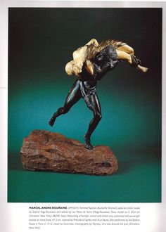 Satyr abducting a Nymph by Marcel A. BOURAINE. A cold patinated bronze sculpture by Andre-Marcel Bouraine entitled Satyr abducting a Nymph. The piece rests in a hand sculpted rock. Made in France circa 1930. Signature: Bouraine. Additional image from book (hva)