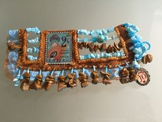 "Handmade bracelet ""Emile"" with hand sewed Toho beads, glass beads, gemstone jaspis, turquoise, applied image with lady Art Deco style on velur skin and lace ribbons."