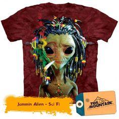 TeeShirtPalace Jammin Alien Smoking Weed The Mountain T-Shirt Large . Graphic Prints, Graphic Tees, Wildest Fantasy, Dibujos Cute, Tee Shirt Designs, Aliens, Jamaica, Tee Shirts, Unisex