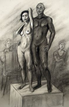 "two models, charcoal, 18"" x 24"" #lifedrawing #figuredrawing #art #nude"