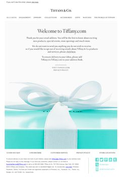 Tiffany & Co. welcome email 3/2014