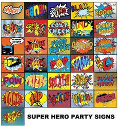 Super Hero 30 Party Signs, PRINTABLE, D.I.Y.- by Metro Events/Metro-Designs. $5.98, via Etsy.
