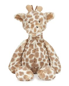 "Jellycat ""Dapple Giraffe"" plush toy, covered in beautiful blots, features two soft horns. Extra-soft and cuddle-ready, complete with fringy mane and tail. Plastic pellet fill keeps animal sitting upri"