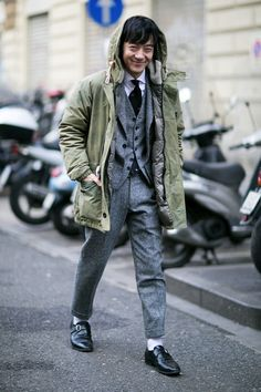 Lavender Socks Hipster in Grey Suit #streetstyle