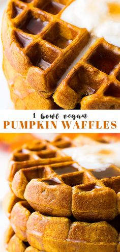 Vegan Pumpkin Waffles are full of pumpkin spice goodness and the perfect fall breakfast or brunch entree! Crispy on the outside and fluffy on the inside, these healthy vegan waffles are the perfect way to celebrate fall. Pumpkin Spice Waffles, Pumpkin Pie Mix, Homemade Pumpkin Puree, Pumpkin Recipes, Pumpkin Breakfast, Fall Breakfast, Breakfast Waffles, Vegan Foods, Vegan Dishes