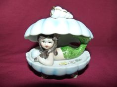 Vintage Bisque Porcelain Mermaid In Shell Figurine Display - SOLD