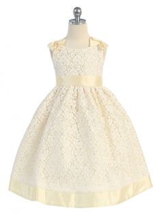Girls Dress Style M905- BANANA Sleeveless Lace Dress with Bow Accents