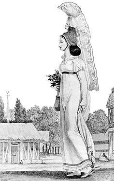 regency dress, 1811...never mind the hat!