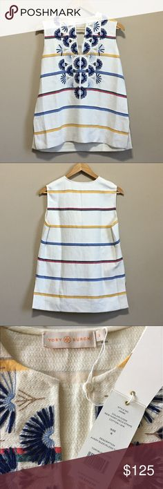 """Tory Burch Avery Sleeveless Tunic Multicolor stripes and bursts of embroidery along the neckline brighten a summer tunic fashioned from woven linen-blend jacquard for an easy A-line style.  27"""" length, 19.75"""" chest  Hidden back-zip closure.  Split neck.  Sleeveless.  Side slits.  59% linen, 41% cotton. Tory Burch Tops Tunics"""