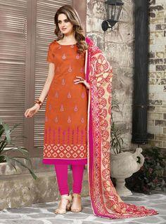Orange Chanderi Churidar Salwar Suit 85161