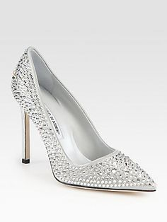 Manolo Blahnik Crystal BB Satin Pumps