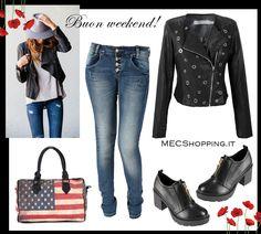 Jeans: http://www.mecshopping.it/shop/donna/jeans/jeans-33543.html Giacca: http://www.mecshopping.it/shop/donna/giacche-e-coprispalle/giacca-33597.html Scarpe: http://www.mecshopping.it/shop/scarpe/scarpe-donna/francesinedonna/francesina-28872.html Borsa: http://www.mecshopping.it/shop/borse/donna/borse-a-mano/borsa-a-mano-32740.html
