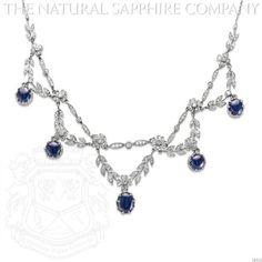 Edwardian Platinum, Cabochon Sapphire and Diamond Swag Necklace, Circa 1915. (J4350)