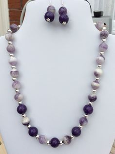 SOLD - Bi colour amethyst and purple quartzite necklace and earrings