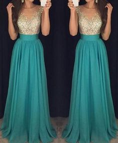 Sexy Long Chiffon Beading Teal Prom Dresses,Prom Dress,Evening Dresses,Party Gowns